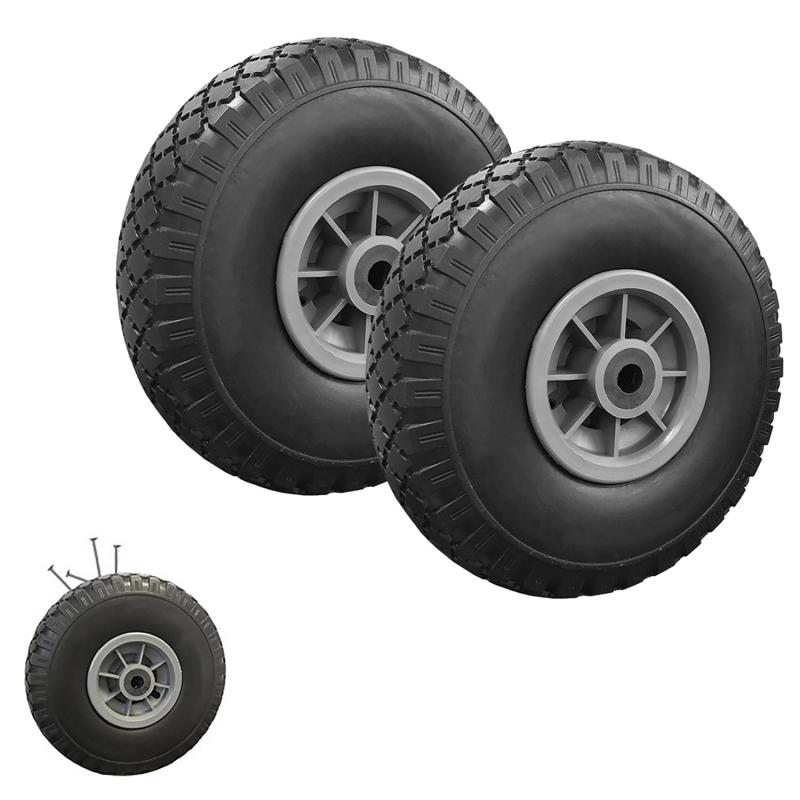 """IDMarket """"Lot de 2 roues increvables 250mm pour diable chariot alésage axe 16mm"""""""