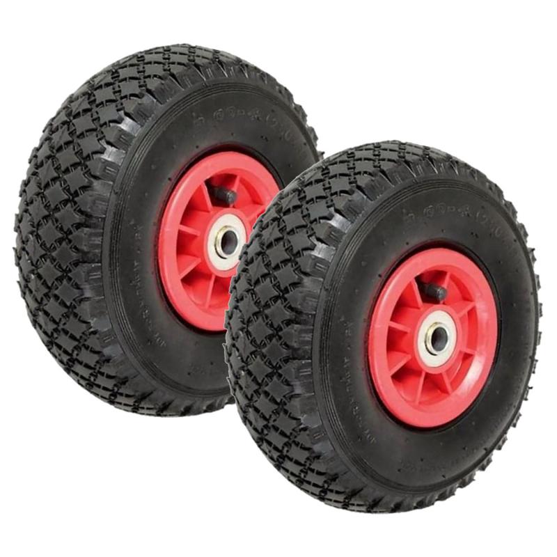 IDMarket Lot de 2 roues gonflables 260mm pour diable chariot alésage axe 16mm