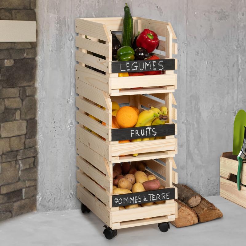 IDMarket Lot de 3 clayettes en bois empilables pour fruits et légumes