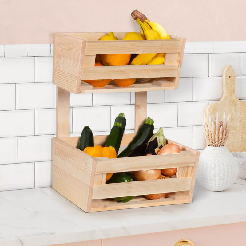 IDMarket Corbeille à fruits et légumes en bois rangement 2 niveaux à poser ou suspendre