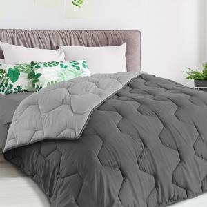 IDMarket Couette bicolore 140x200 gris foncé et gris clair - Publicité