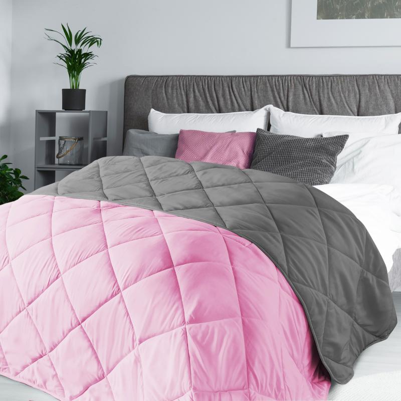 """IDMarket """"Couette 2 en 1 bicolore rose et gris 220x240 cm 170 gr"""""""