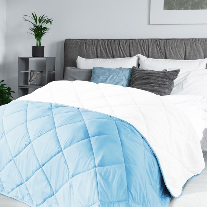 """IDMarket """"Couette 2 en 1 bicolore bleu et blanc 220x240 cm 170 gr"""""""