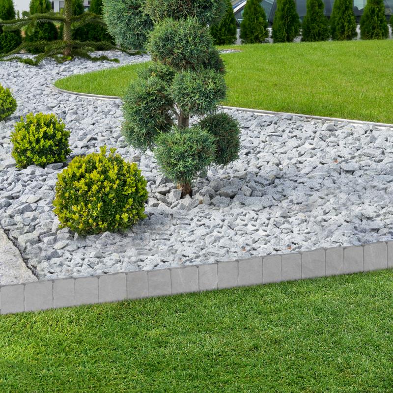 """IDMarket """"Lot de 20 bordurettes de jardin imitation pierre L. 5,1 x H. 0,23 M"""""""