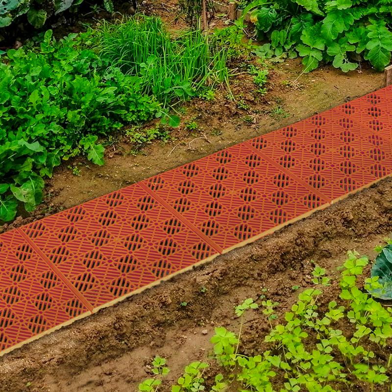 IDMarket Lot de 10 dalles caillebotis de jardin terracotta 29.5x29.5 CM