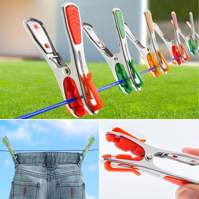 ProBache Pinces à linge X24 inox incassables révolution avec crochets clips de suspension