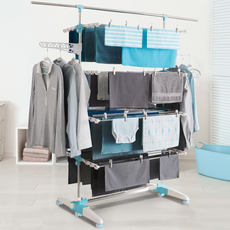 IDMarket Séchoir à linge blanc/bleu 4 niveaux réglables XXL + barre télescopique