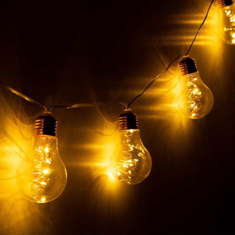 """IDMarket """"Guirlande 10 ampoules solaires à spirales pour jardin"""""""