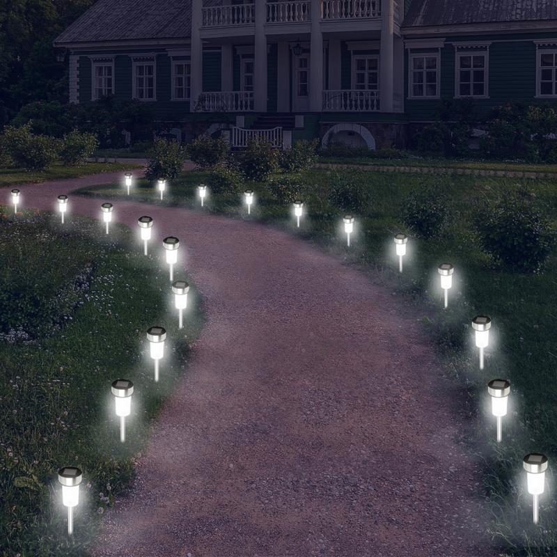 """IDMarket """"Lot de 20 bornes solaires à LED lampes de jardin à planter"""""""