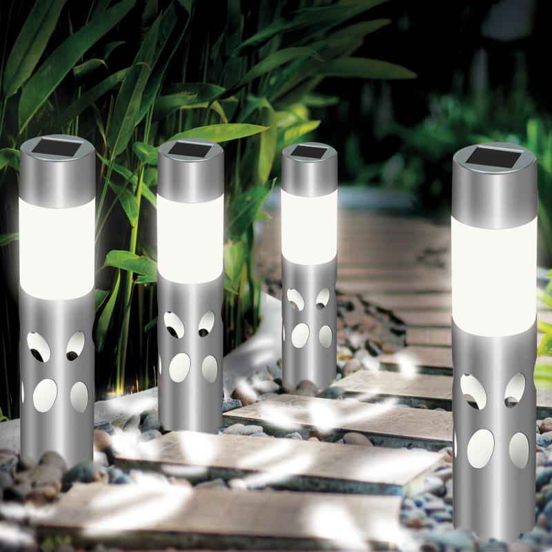 IDMarket Lot de 4 lampes solaires extérieures IRIS à motifs