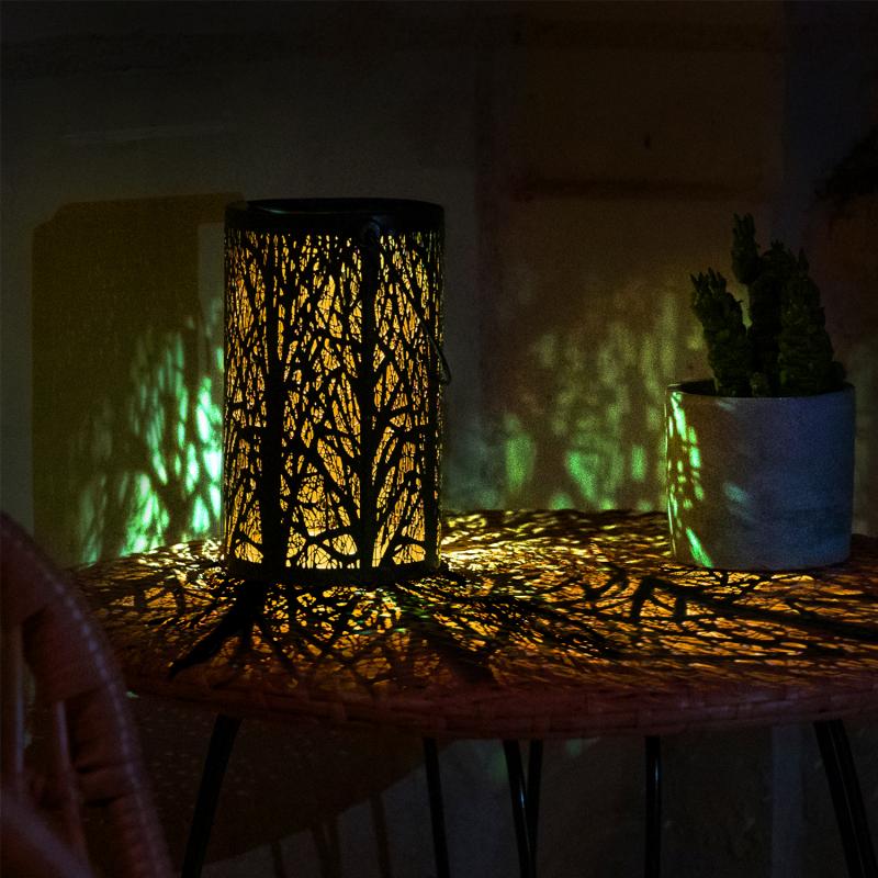 IDMarket Lanterne solaire à LED motifs arbres à poser ou suspendre