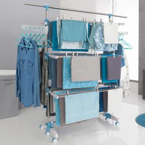 IDMarket Séchoir à linge modulable blanc/bleu grande capacité + 30 accessoires - Publicité