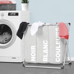IDMarket Panier à linge pliable 3 compartiments gris - Publicité