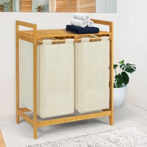 IDMarket Bac à linge double bambou ALI tissu écru - Publicité