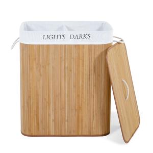IDMarket Bac à linge bambou ALBA 2 compartiments - Publicité