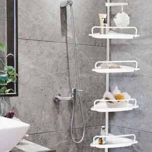 """IDMarket """"Etagère d'angle de douche télescopique chromée avec 4 tablettes blanches"""" - Publicité"""