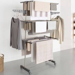 IDMarket Séchoir à linge inox MAXIMA gris étendoir pliable H.145 cm - Publicité