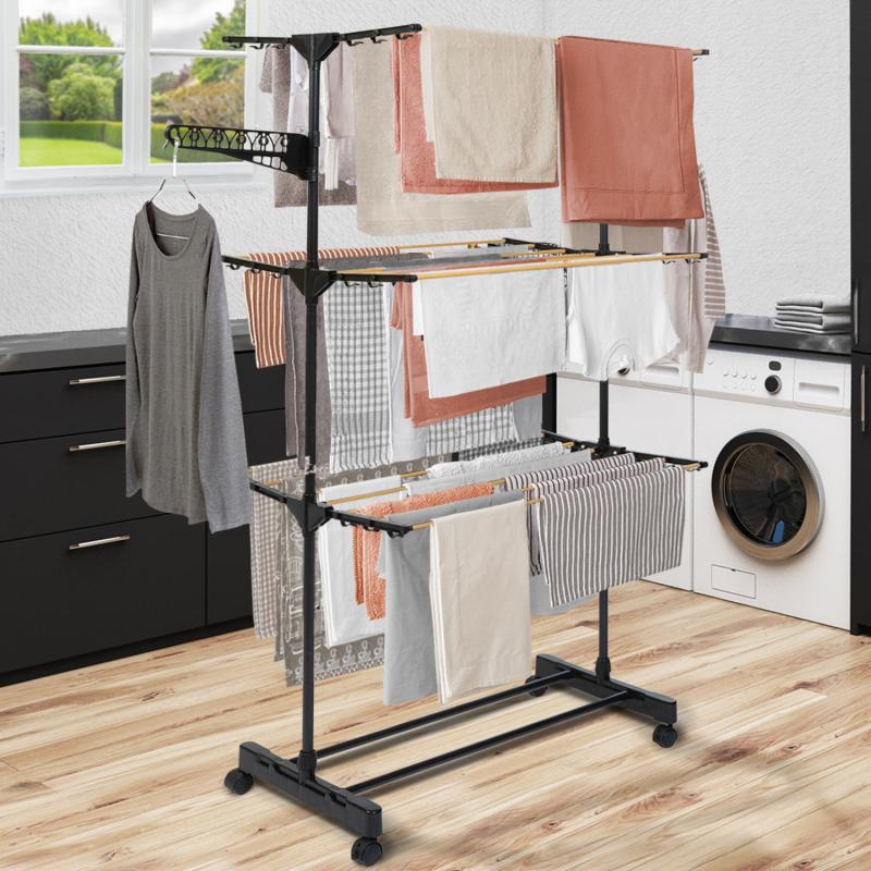 IDMarket Séchoir à linge inox MAXIMA noir et aspect bois étendoir pliable H.145 cm