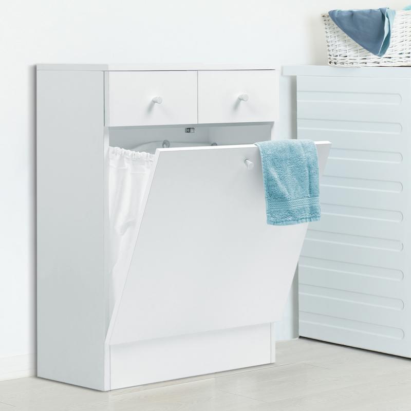 IDMarket Meuble avec bac à linge intégré en bois blanc
