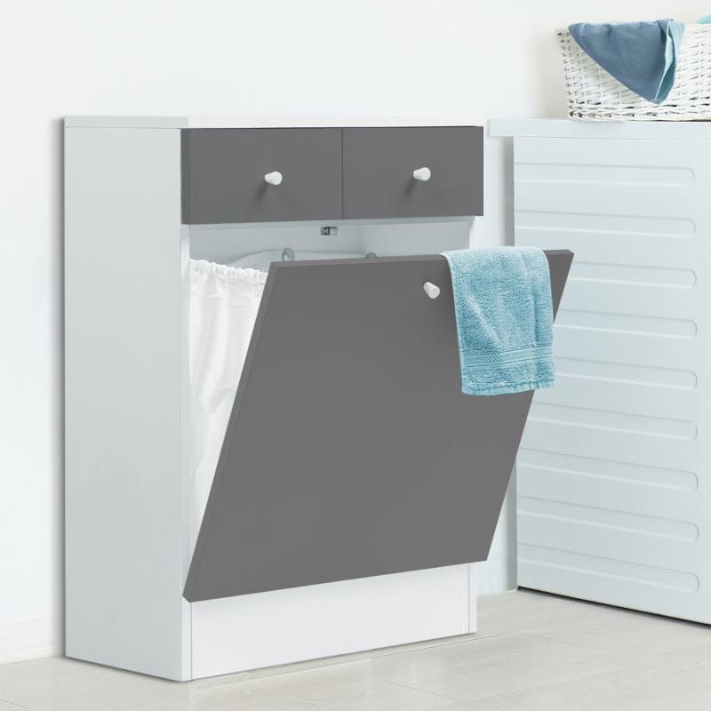 IDMarket Meuble avec bac à linge intégré en bois gris blanc