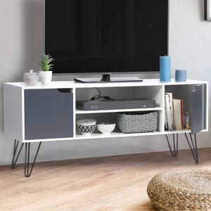 """IDMarket """"Meuble TV vintage NOEMI bois blanc pied épingle"""" - Publicité"""
