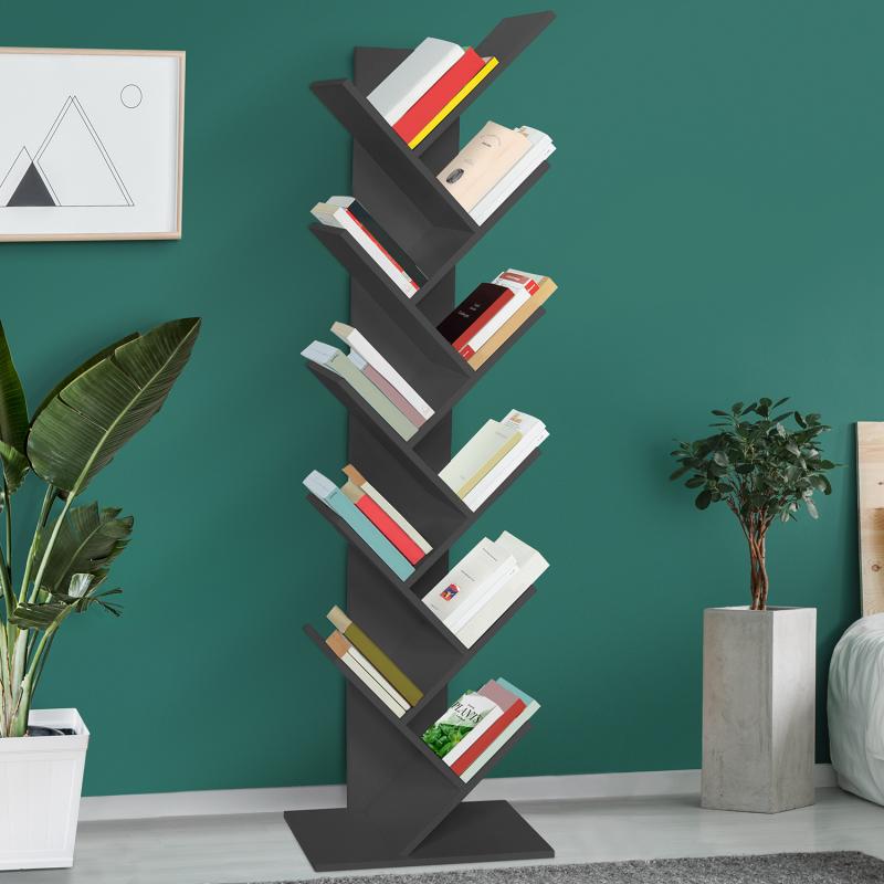 IDMarket Etagère bibliothèque à livres TEA forme d'arbre 10 niveaux grise