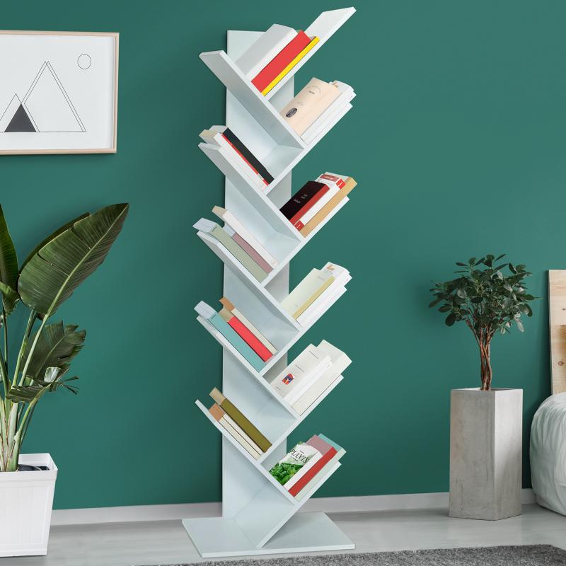 IDMarket Etagère bibliothèque à livres TEA forme d'arbre 10 niveaux blanche