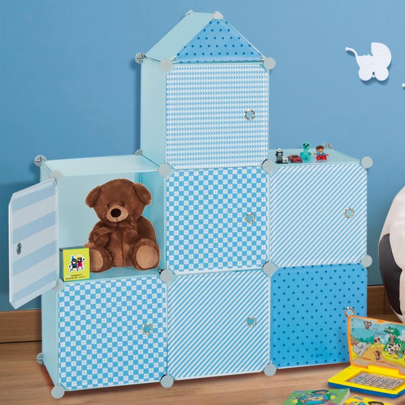 IDMarket Meuble de rangement cube MERLIN enfant bleu 7 cases
