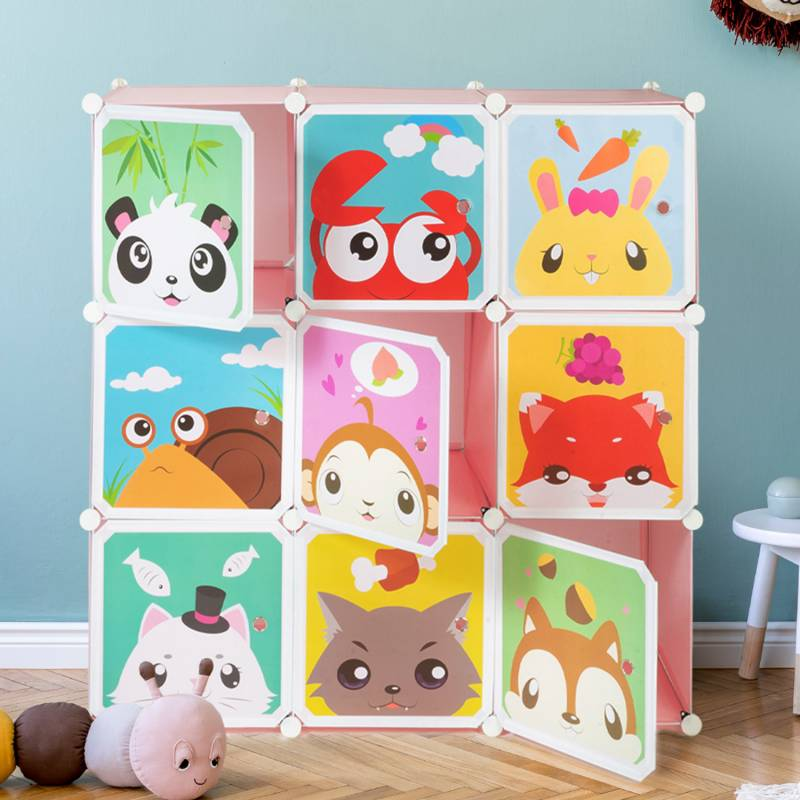 IDMarket Meuble de rangement cube enfant animaux 9 cases
