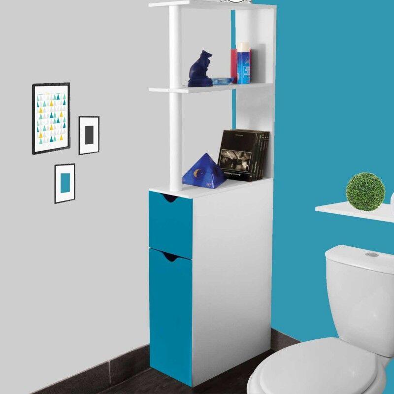"""ProBache """"Meuble WC étagère bois gain de place pour toilette 2 portes bleues"""""""