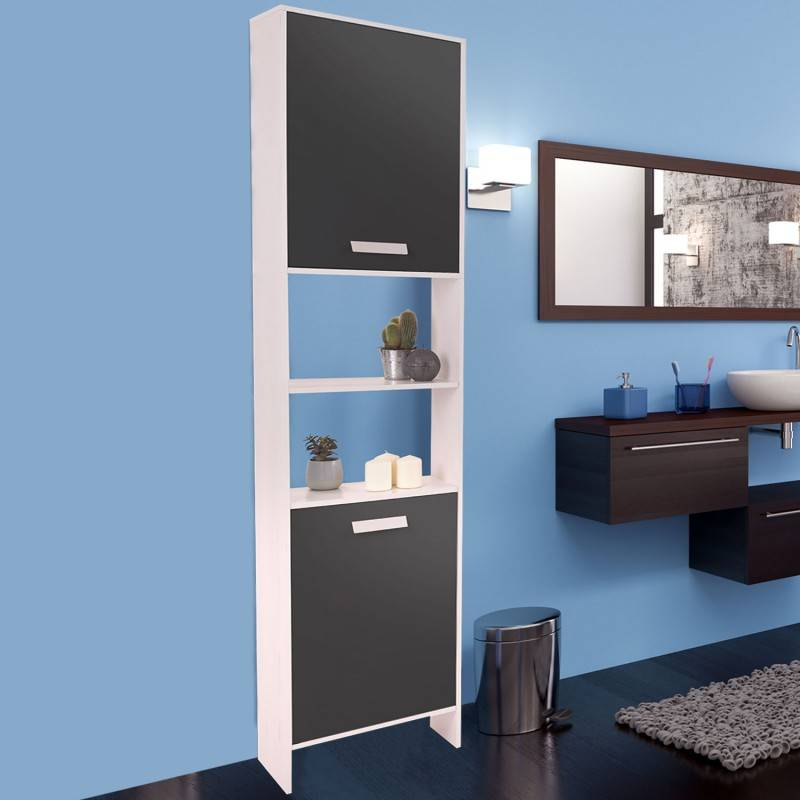 """ProBache """"Meuble colonne salle de bain design en bois blanc portes grises"""""""