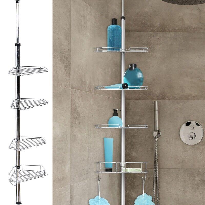 IDMarket Etagère d'angle de douche télescopique en acier inoxydable
