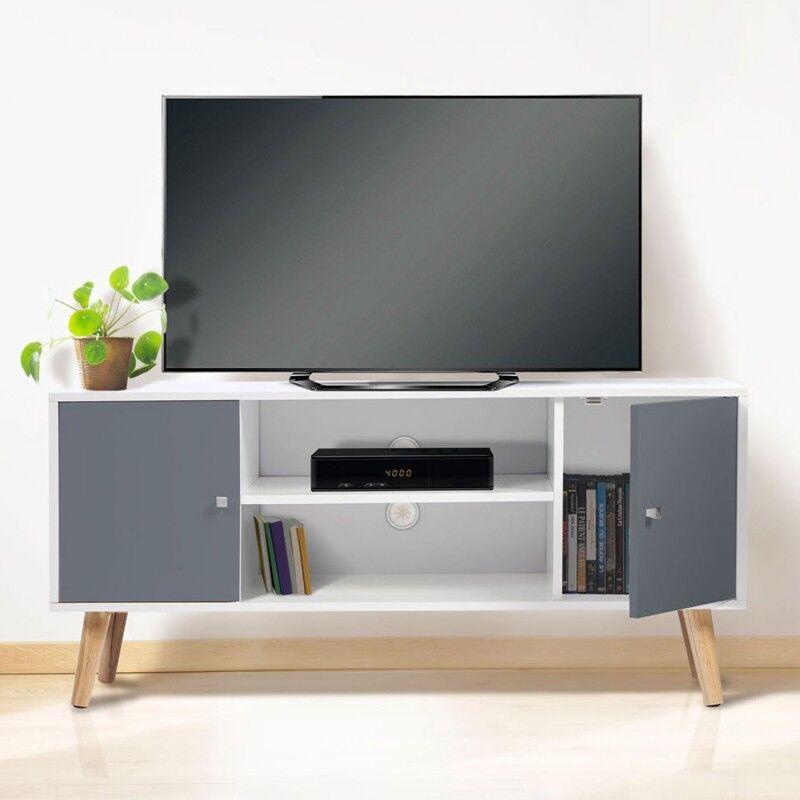 """IDMarket """"Meuble TV EFFIE scandinave 2 portes bois blanc et gris"""""""