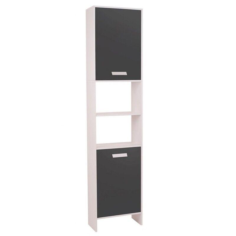 ProBache Meuble colonne salle de bain design LEA en bois blanc portes grises