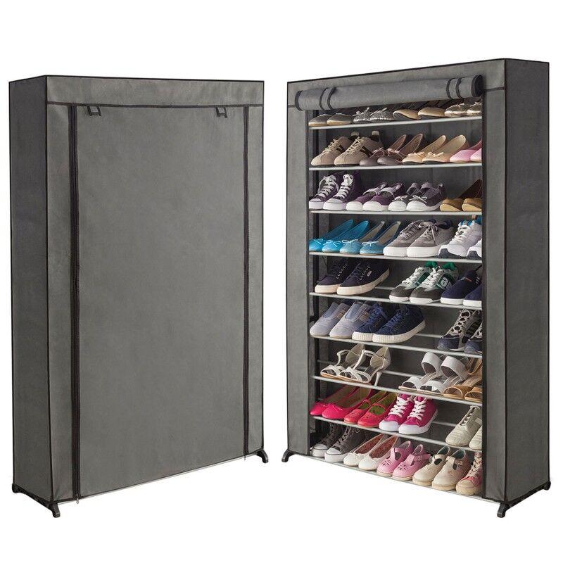 """IDMarket """"Étagère range chaussures 50 paires housse grise"""""""