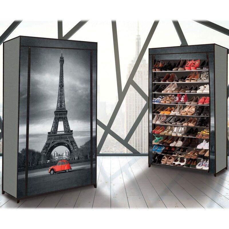 """IDMarket """"Étagère range chaussures 50 paires housse imprimé Paris"""""""