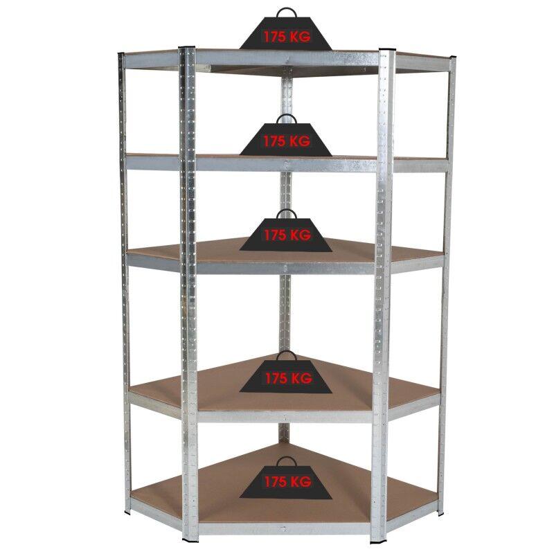 IDMarket Etagère d'angle 5 plateaux charge lourde 875 kg en acier