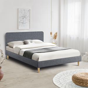 IDMarket Lit double scandinave Balta 140x190 cm tissu gris anthracite - Publicité