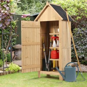 IDMarket Armoire de jardin abri en bois naturel avec toit bitumé
