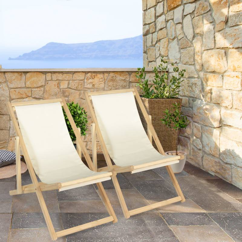 """IDMarket """"Lot de 2 chaises longues pliantes en bois avec toile écrue"""""""