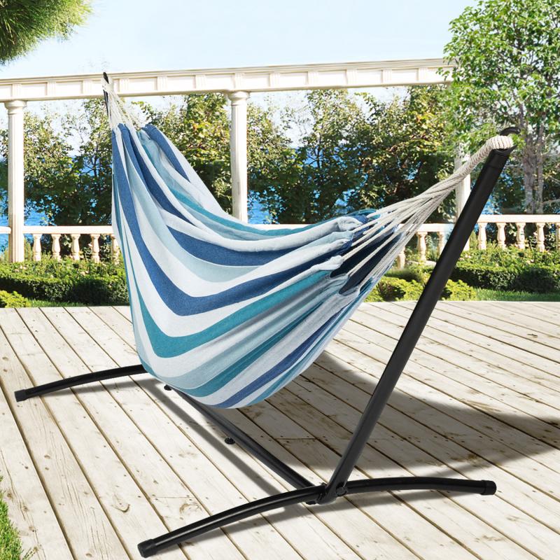 IDMarket Hamac avec support métal et toile rayée bleue et blanche