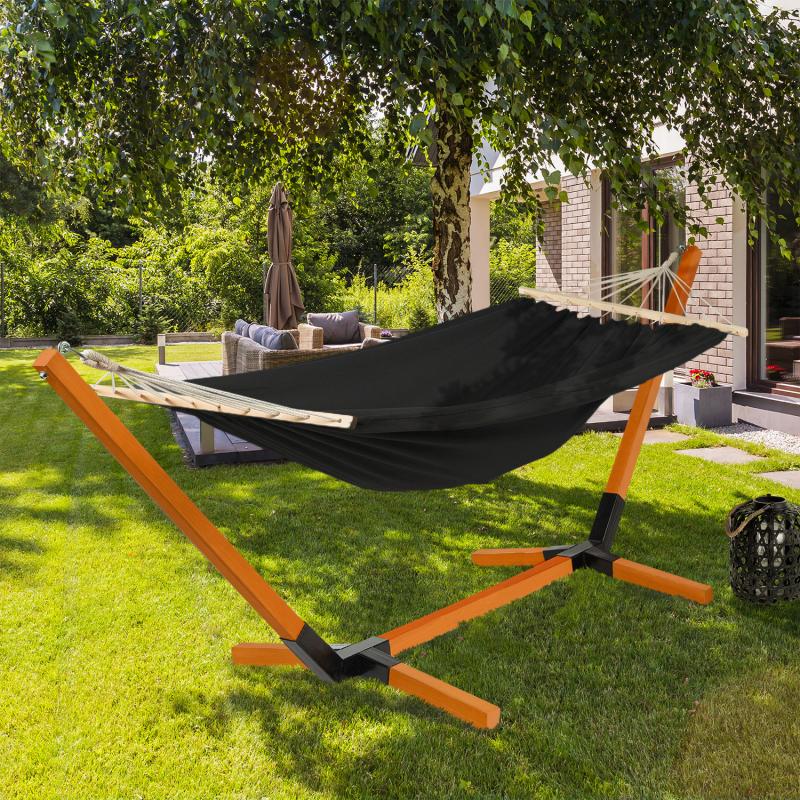 IDMarket Hamac CUBA avec support bois et toile noire