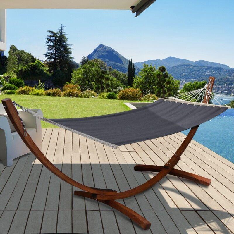 IDMarket Hamac XL avec support bois et toile grise anthracite