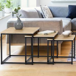 IDMarket Lot de 3 tables basses gigognes DETROIT 35/40/45 design industriel - Publicité