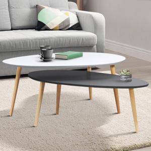 IDMarket Tables de salon gigognes laquées blanche et grise - Publicité