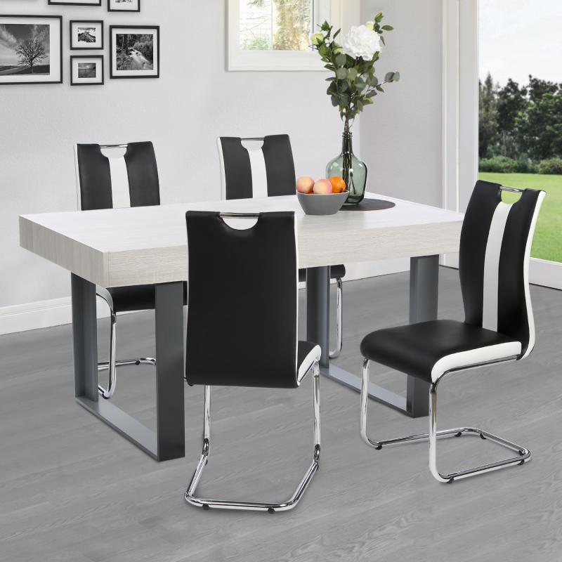 """IDMarket """"Lot de 4 chaises PIA noires et blanches pour salle à manger"""""""