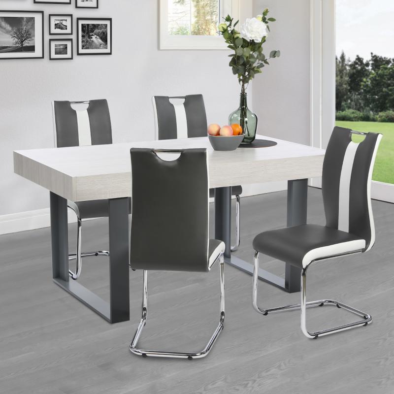 """IDMarket """"Lot de 4 chaises PIA grises et blanches pour salle à manger"""""""