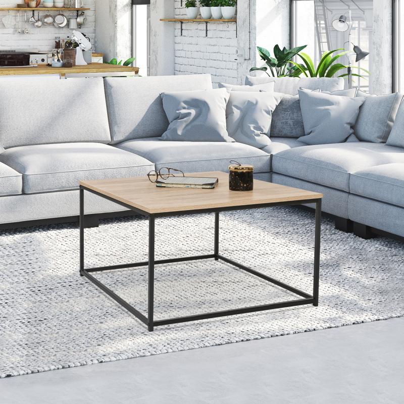 """IDMarket """"Table basse carrée DETROIT design industriel"""""""
