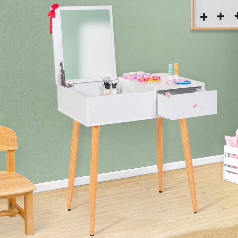 IDMarket Coiffeuse enfant scandinave ELIZA blanche miroir rabattable