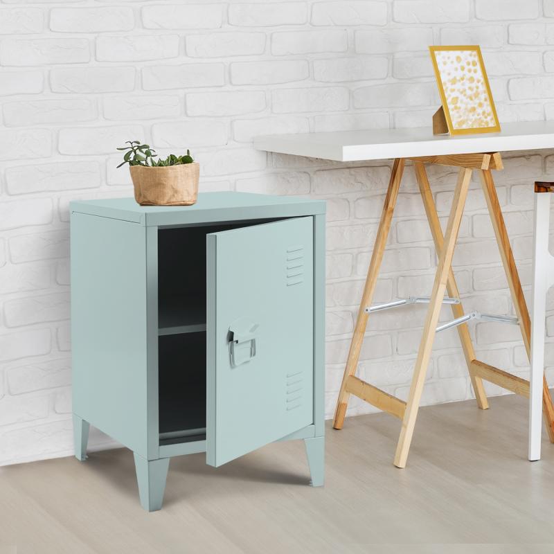 "IDMarket ""Table de chevet ESTEL en métal vert amande"""
